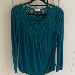 Anthropologie Teal Meadow Rue Top Size M